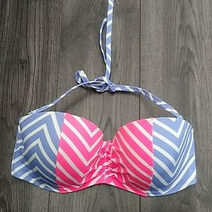 Victoria's Secret Halter Swim Top 36DD Blue Pink